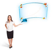 Young woman presenting abstract copy space with graphs and diagr Stock Photo