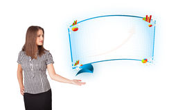 Young woman presenting abstract copy space with graphs and diagr Stock Photography