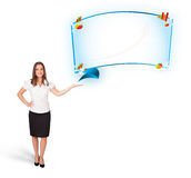 Young woman presenting abstract copy space with graphs and diagr Royalty Free Stock Photos