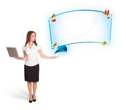Young woman presenting abstract copy space with graphs and diagr Royalty Free Stock Photography