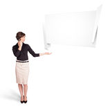 Young woman presenting abstract origami copy space Stock Photo