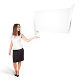 Young woman presenting abstract origami copy space Stock Image