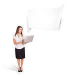 Young woman presenting abstract origami copy space Royalty Free Stock Image