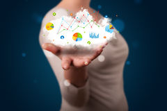 Young woman presenting cloud with charts and graph icons and sym Royalty Free Stock Photography