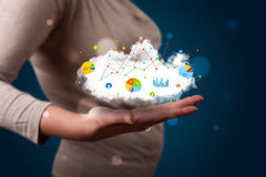 Young woman presenting cloud with charts and graph icons and sym Royalty Free Stock Image