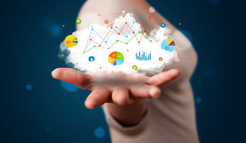 Young woman presenting cloud with charts and graph icons and sym Royalty Free Stock Photos