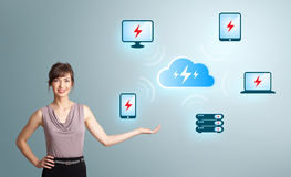Young woman presenting cloud computing network Royalty Free Stock Images