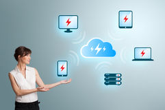 Young woman presenting cloud computing network Stock Images