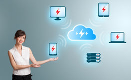 Young woman presenting cloud computing network Royalty Free Stock Image
