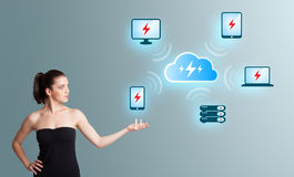 young woman presenting cloud computing network Royalty Free Stock Photos
