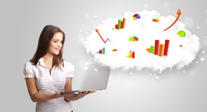 Young woman presenting cloud with graphs and charts Royalty Free Stock Photography
