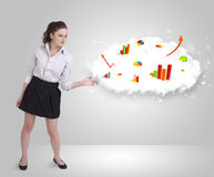 Young woman presenting cloud with graphs and charts Stock Photos