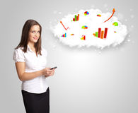 Young woman presenting cloud with graphs and charts Royalty Free Stock Image