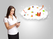 Young woman presenting cloud with graphs and charts. Concept Stock Photo