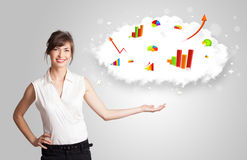 Young woman presenting cloud with graphs and charts Stock Photo