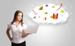 Young woman presenting cloud with graphs and charts Royalty Free Stock Images