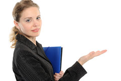 Young woman presenting copy-space Royalty Free Stock Images