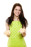 Young woman presenting dough Stock Photography