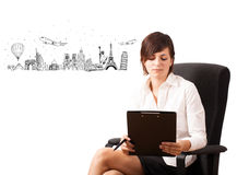 Young woman presenting famous cities and landmarks Royalty Free Stock Photography