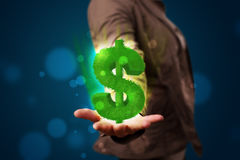 Young woman presenting green glowing dollar sign Royalty Free Stock Photo