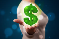 Young woman presenting green glowing dollar sign Royalty Free Stock Photos