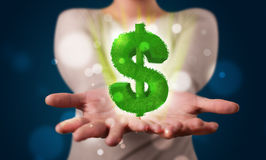 Young woman presenting green glowing dollar sign. Young beautiful woman presenting green glowing dollar sign Royalty Free Stock Photos