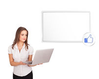 Young woman presenting modern copy space Stock Photo