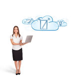 Young woman presenting modern devices in clouds Stock Photo
