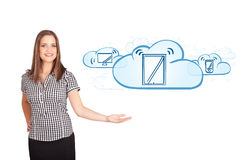 Young woman presenting modern devices in clouds. Beutiful young woman presenting modern devices isolated on white Stock Images