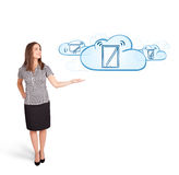 Young woman presenting modern devices in clouds Royalty Free Stock Image