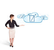 Young woman presenting modern devices in clouds Royalty Free Stock Photos