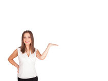 Young woman presenting white copy space Royalty Free Stock Images