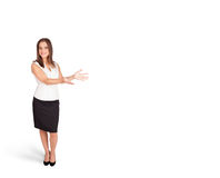 Young woman presenting white copy space Royalty Free Stock Photos