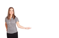 Young woman presenting white copy space Stock Image
