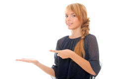 Young woman presenting your product Royalty Free Stock Photography