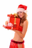 Young woman with presents isolated Royalty Free Stock Images