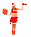Young woman with presents isolated Royalty Free Stock Image