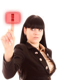 Young woman pressing on the red warning button Royalty Free Stock Photo