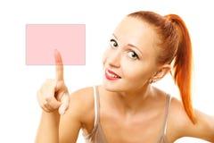 Young woman pressing virtual button Stock Photos