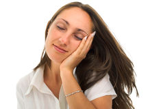 Young woman pretending to be asleap Royalty Free Stock Photography