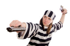 The young woman in prison  on white Royalty Free Stock Images