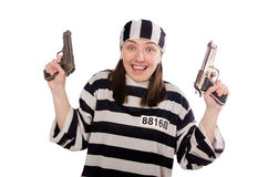 The young woman in prison  on white Stock Photography