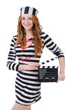 Young woman-prisoner with movie board isolated Royalty Free Stock Photo