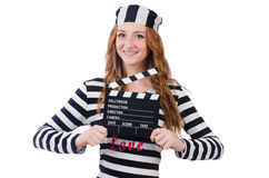 Young woman-prisoner with movie board isolated Stock Photos