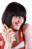 Young woman promoting beauty product Royalty Free Stock Photography