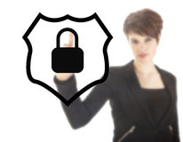 Young woman with protection shield isolated Stock Image
