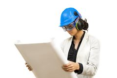 Young woman in protective workwear Stock Images
