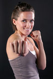 Young Woman Punching Royalty Free Stock Photo
