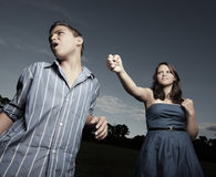Young woman punching the boy Stock Photography