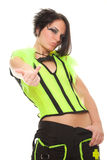 Young woman punk in bright clothes shows gesture Royalty Free Stock Image